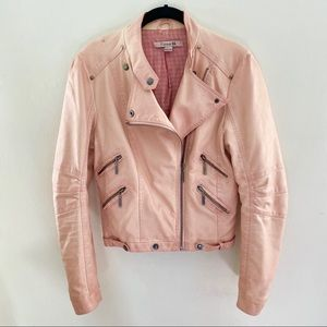 Forever 21 Baby Pink Faux Leather Moto Jacket